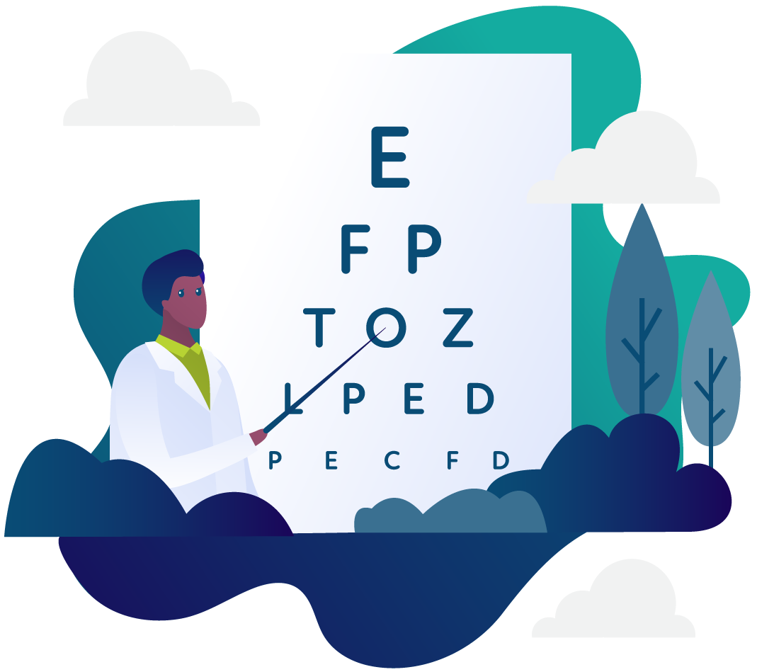 Illustration of an eye doctor pointing to an eye chart